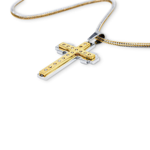 Stainless Steel Double Layer Cross Pendant CZ