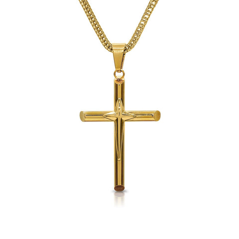 Stainless Steel Designer Cross Pendant Necklace