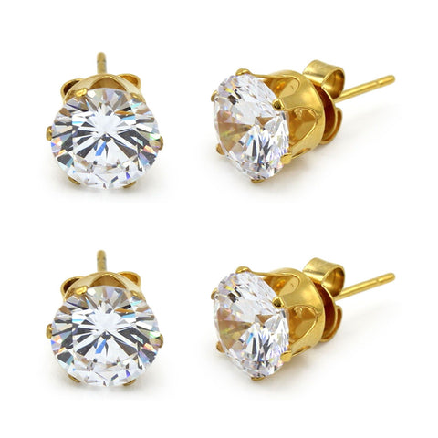 Stud Earring Set of 2 Round Cubic Zirconia 14K Gold Plated Stainless Steel Studs