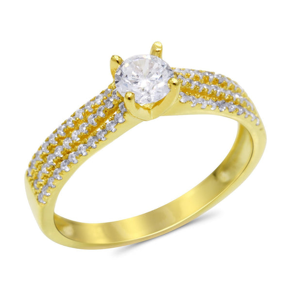 CZ 5mm Center Stone Sterling Silver Gold Plated Crossover Halo Engagement Ring
