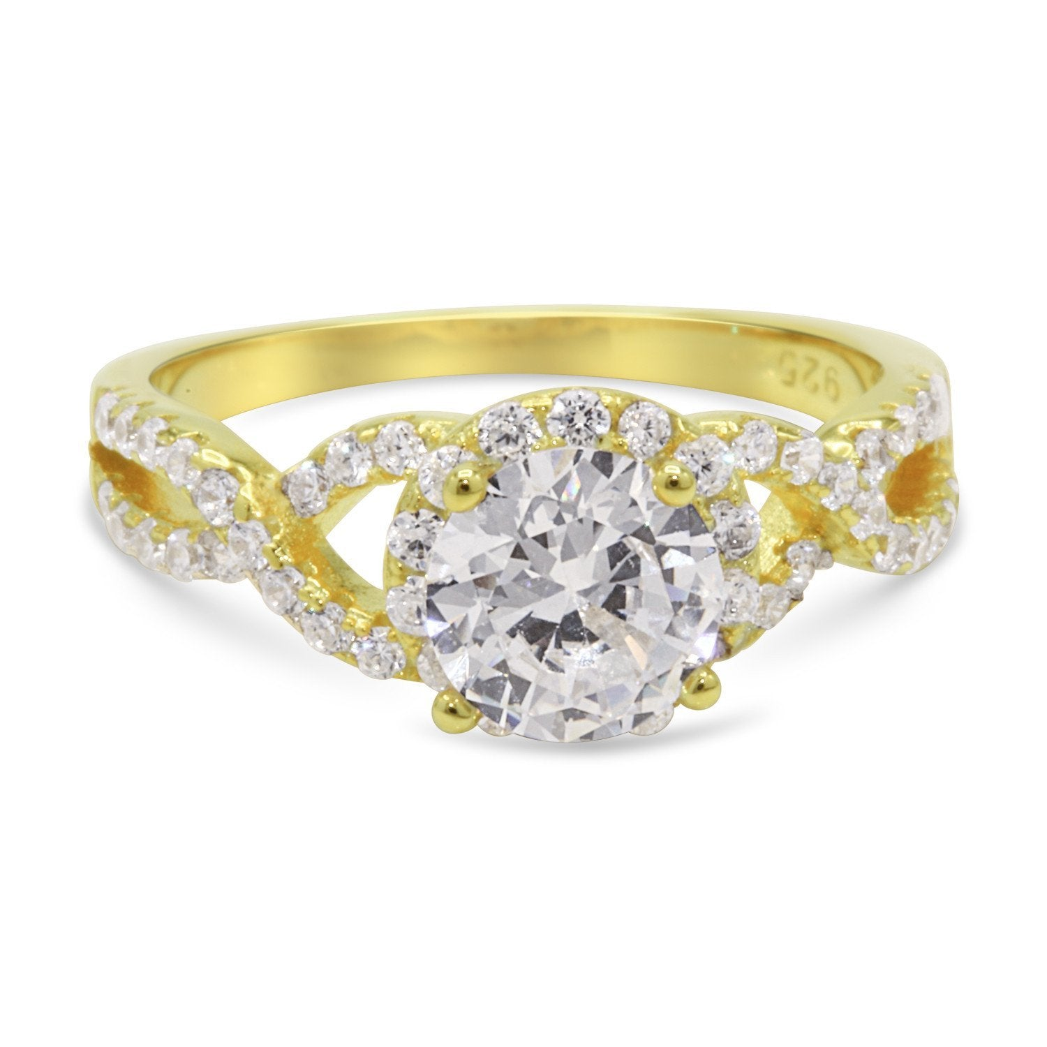 CZ 7mm Center Stone Sterling Silver Gold Plated Crossover Halo Engagement Ring