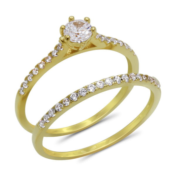 CZ 4mm Elegant Sterling Silver Gold Plated Crossover Halo Engagement Ring