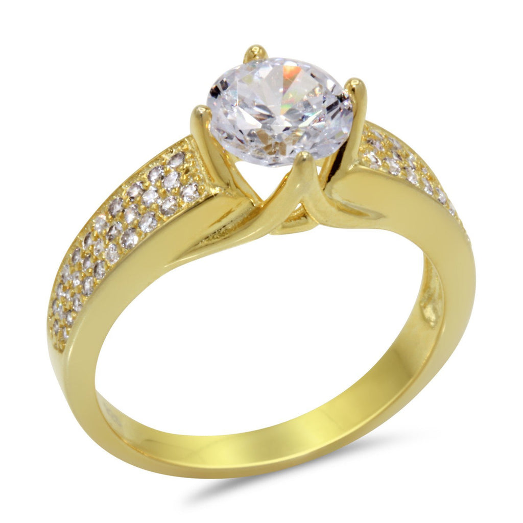 CZ 7mm Sterling Silver Gold Plated Crossover Halo Engagement Ring