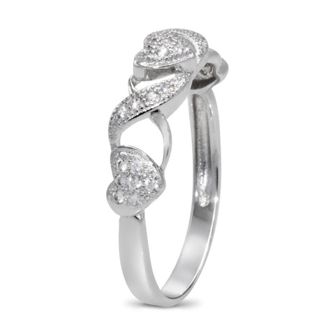 CZ 4mm Sterling Silver Plated Crossover Heart Halo Promise, Engagement Ring