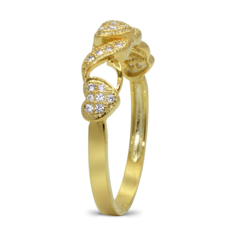 CZ 4mm Sterling Silver Gold Plated Crossover Heart Halo Engagement Ring