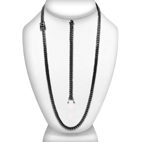 "Cuban Link Chain Curb Black Ion Necklace 30"" Bracelet 9.5"" Set Stainless Steel"
