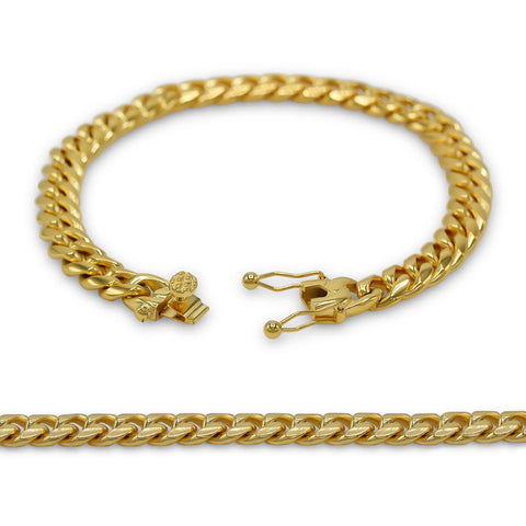Cuban Link Bracelet 18k Gold Plated Miami Cuban Chain Stainless Steel