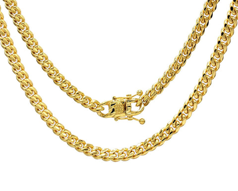 Miami Cuban Link Chain Gold Plated Cross Pendant 18K Mens Womens 30 Inch Necklace Set