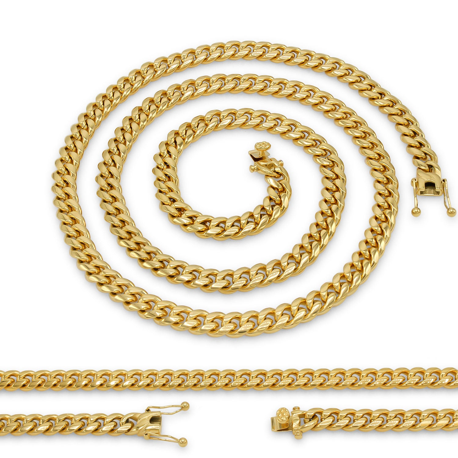 "Cuban Link Chain 18K Gold Plated Curb Necklace 30"" Stainless Steel"