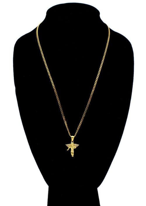 Iced Out Angel Charm Necklace Stainless Steel Bling CZ