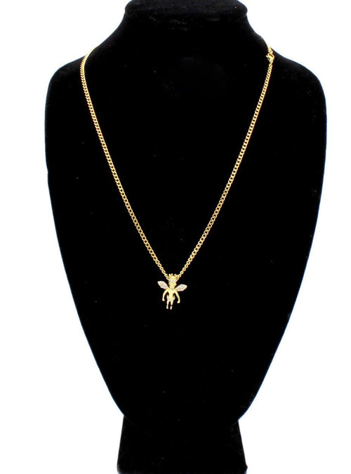 Iced Out Crowned Angel Charm Necklace Stainless Steel Bling CZ