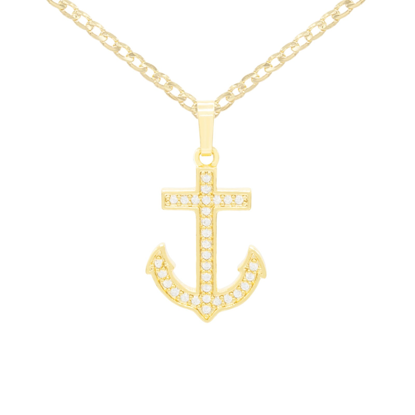 CZ Devil Anchor Cross Cubic Zirconia Pendant With Necklace Set 14K Gold Filled