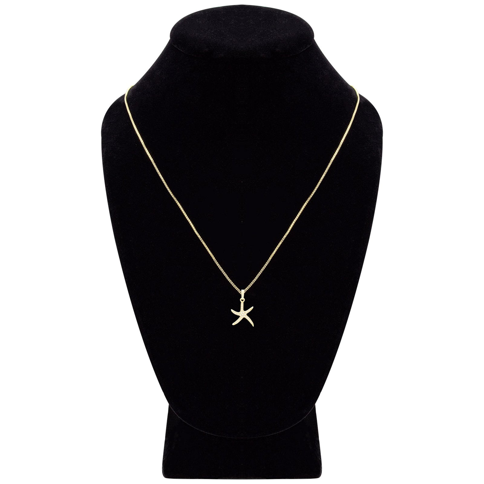 Ocean Starfish Cubic Zirconia Pendant With Necklace Set 14K Gold Filled