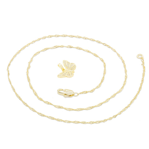 Butterfly Cubic Zirconia Pendant With Necklace Set 14K Gold Filled