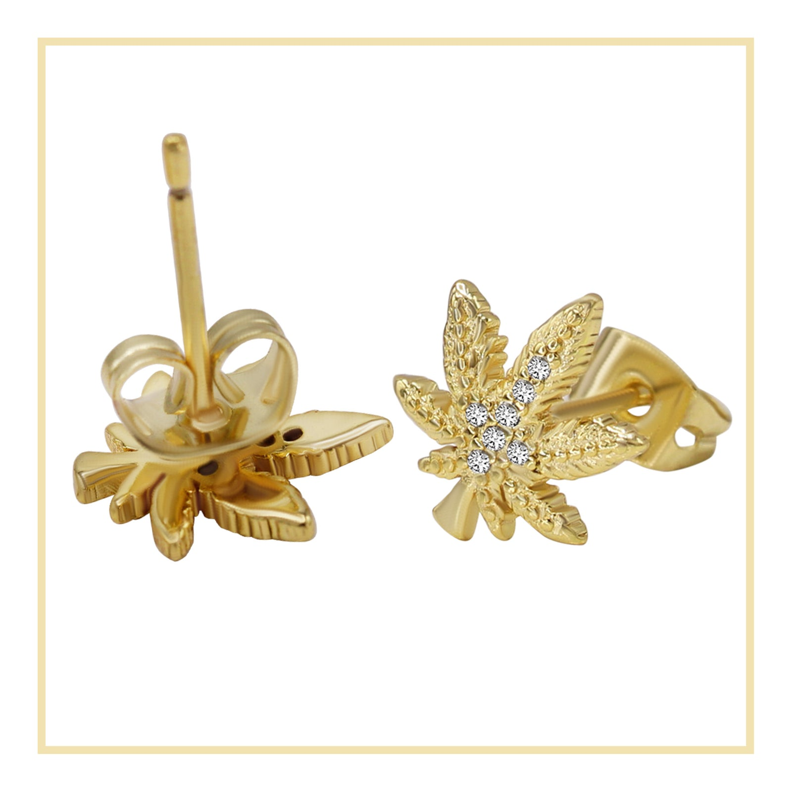 Cannabis Leaf Stud 14K Gold Plated CZ Stud Earrings Cubic Zirconia Ear Piercing Fashion Jewelry