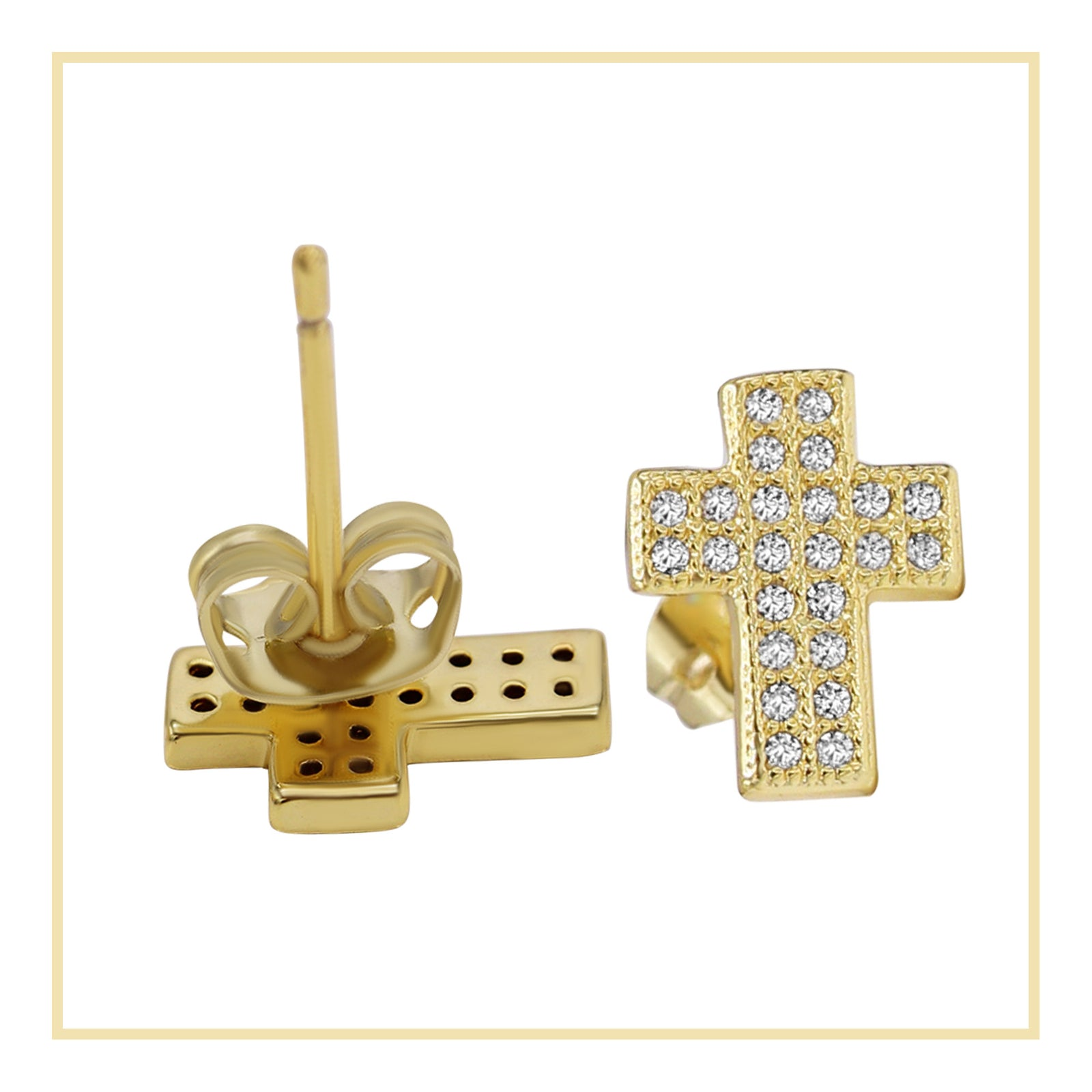 Cross Stud 14K Gold Plated CZ Stud Earrings Cubic Zirconia Ear Piercing Fashion Jewelr