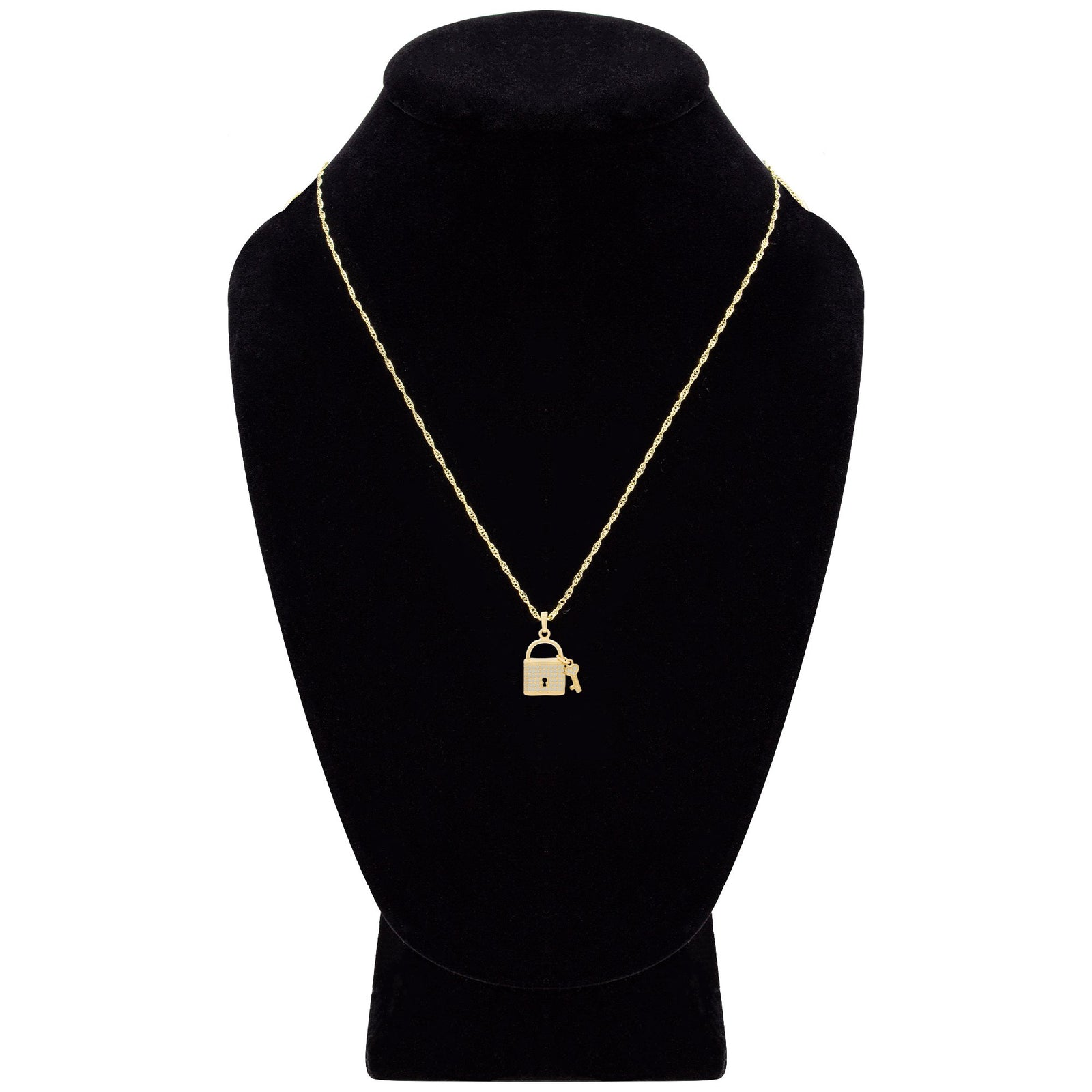 CZ Lock Cubic Zirconia Pendant With Necklace Set 14K Gold Filled