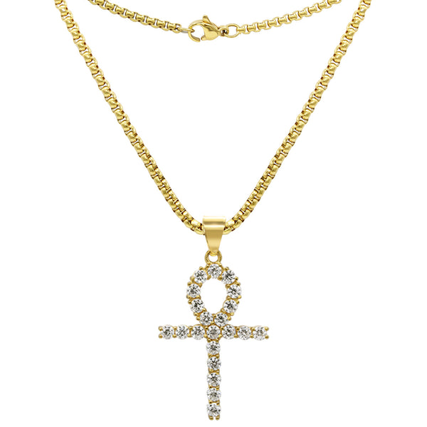 Ankh 1 Pendant Cubic Zirconia with Necklace Set 14K Gold Plated