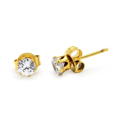 Stud Earrings Round Cubic Zirconia 14K Gold Plated Stainless Steel CZ Ear Piercing
