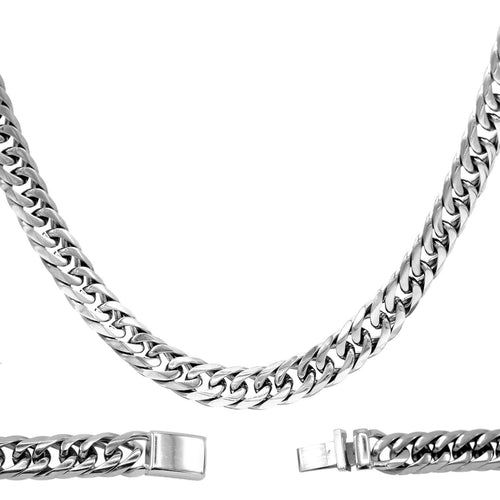 Cuban Link Chain Necklace Miami Cuban Stainless Steel Double Link