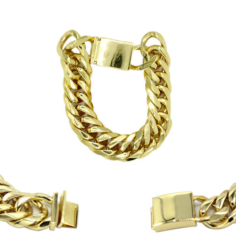 Cuban Link Chain Bracelet 18k Gold Plated Miami Cuban Stainless Steel Double Link