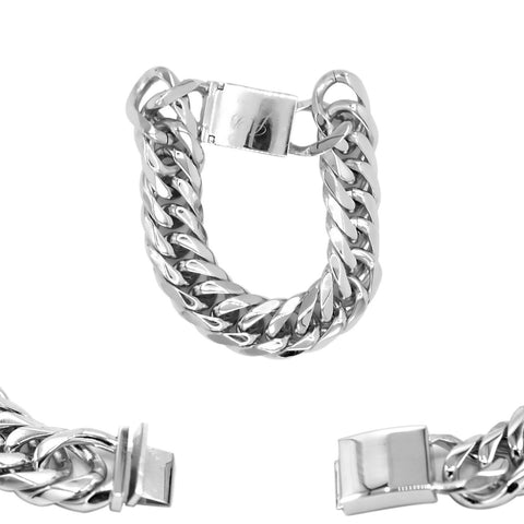 Cuban Link Chain Bracelet Miami Cuban Stainless Steel Double Link