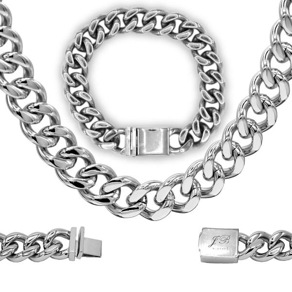 Cuban Link Necklace and Bracelet Set Miami Cuban Stainless Steel