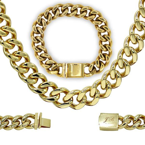 Miami Cuban Link Necklace Bracelet Set 18k Gold Plated Stainless Steel Fashion Jewelry