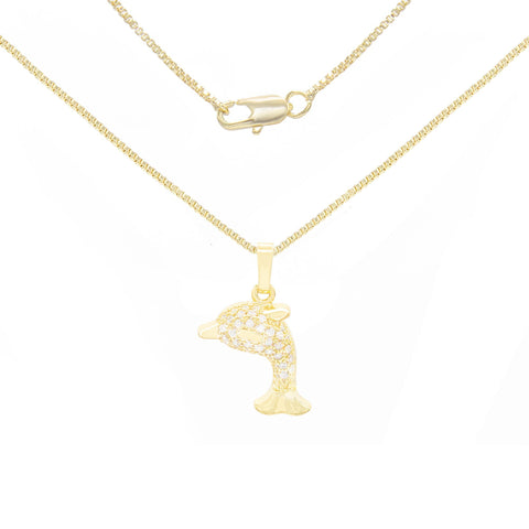 Dolphin Cubic Zirconia Pendant With Necklace Set 14K Gold Filled