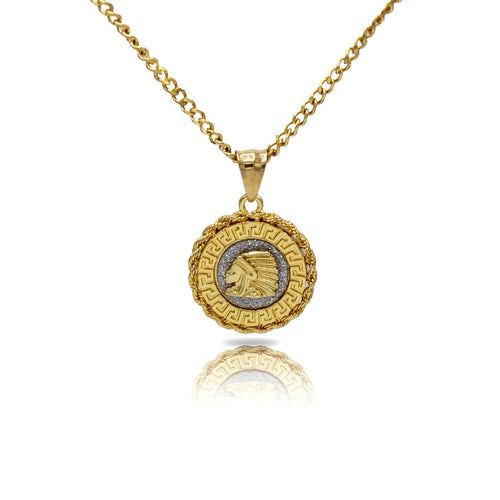 Indian Circle Charm Necklace Stainless Steel Bling