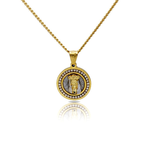 Cubic Zirconia Jesus Circle Charm Necklace Stainless Steel Bling CZ