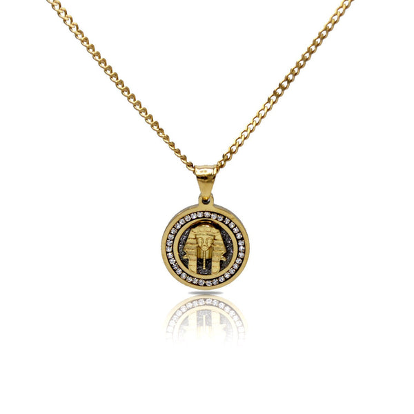 Pharoah Circle Charm Cubic Zirconia Necklace Stainless Steel Bling CZ