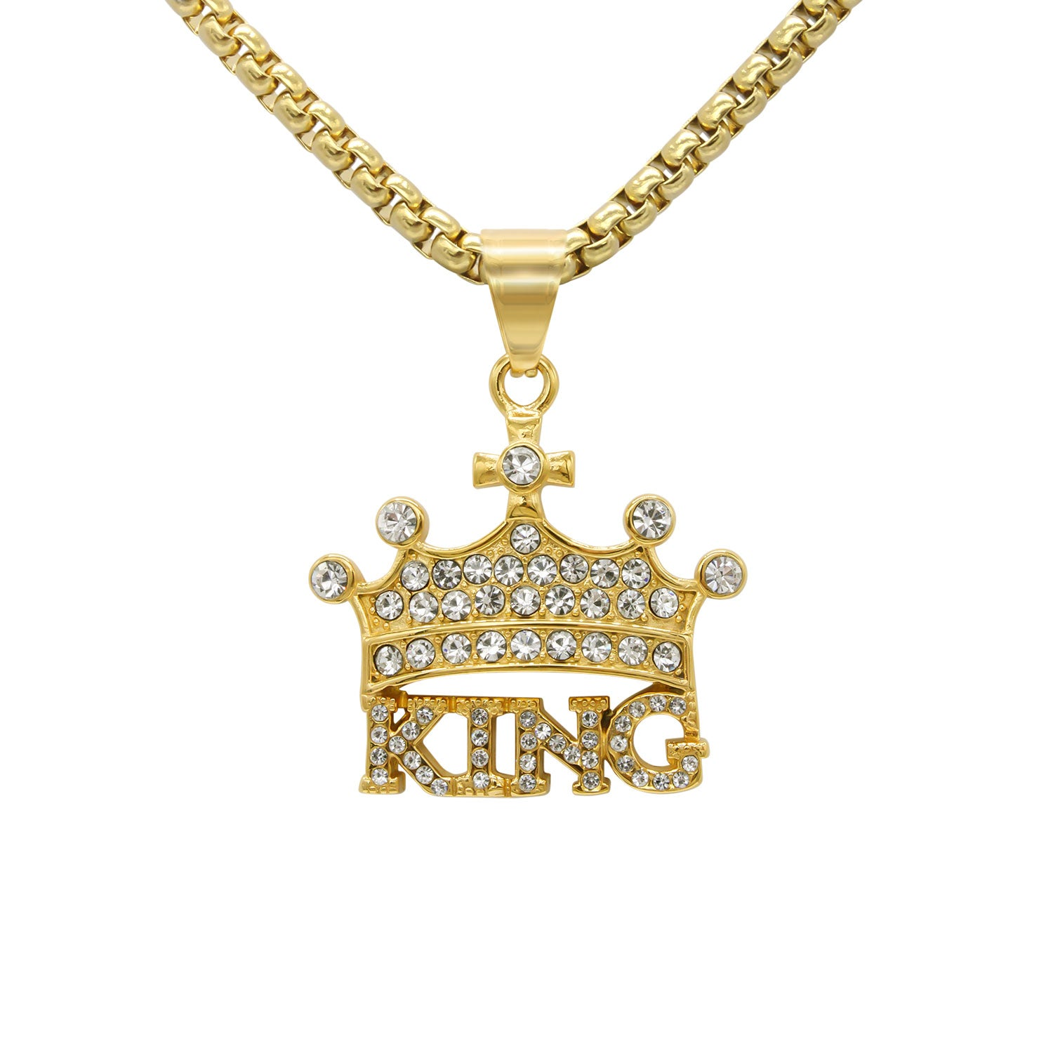 Crown 3 Pendant Cubic Zirconia 14K Gold Plated Stainless Steel