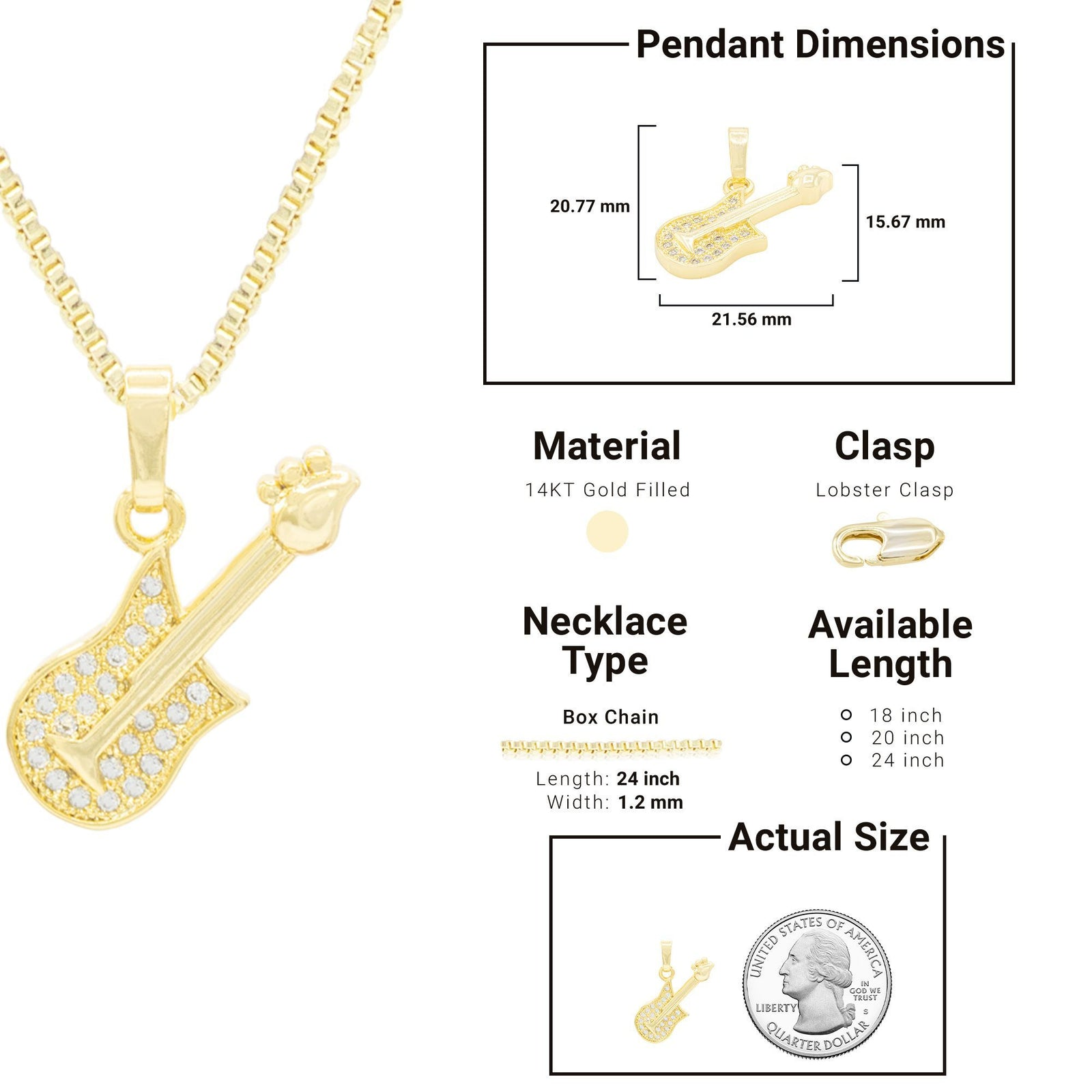 Rock Guitar Cubic Zirconia Pendant With Necklace Set 14K Gold Filled