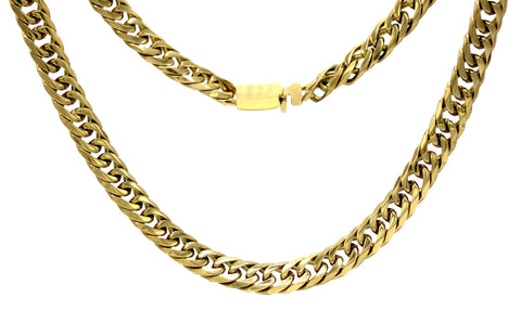 Cuban Link Chain Necklace 18k Gold Plated Miami Cuban Stainless Steel Double Link
