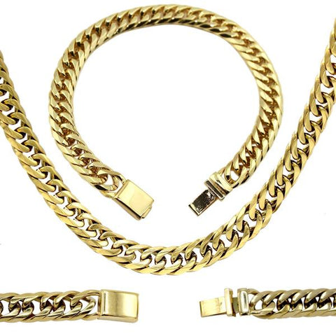 Cuban Link Necklace Bracelet Set 18k Gold Plated Miami Cuban Stainless Steel Fashion Jewelry