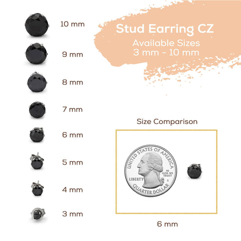 7mm round Black Stud Earring For Men