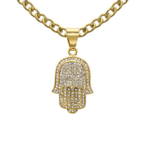 Hamsa Hand Pendant Cubic Zirconia 14K Gold Plated Stainless Steel