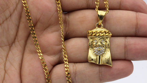 Iced Out Small Jesus Charm Necklace Stainless Steel Bling CZ