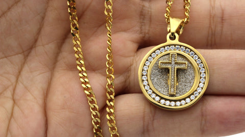 Iced Out Circle Cross Charm Necklace Stainless Steel Bling CZ