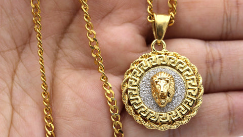 Iced Out Medusa Lion Charm Necklace Stainless Steel Bling CZ