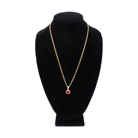Iced Out Ruby Charm Necklace Stainless Steel Bling CZ