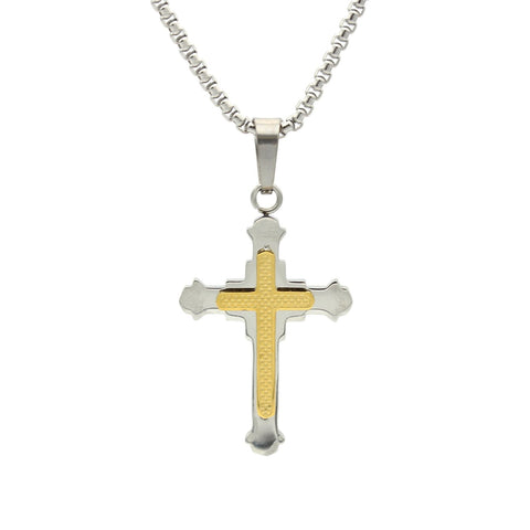 Stainless Steel Checkered Design Cross Pendant Two-Tone