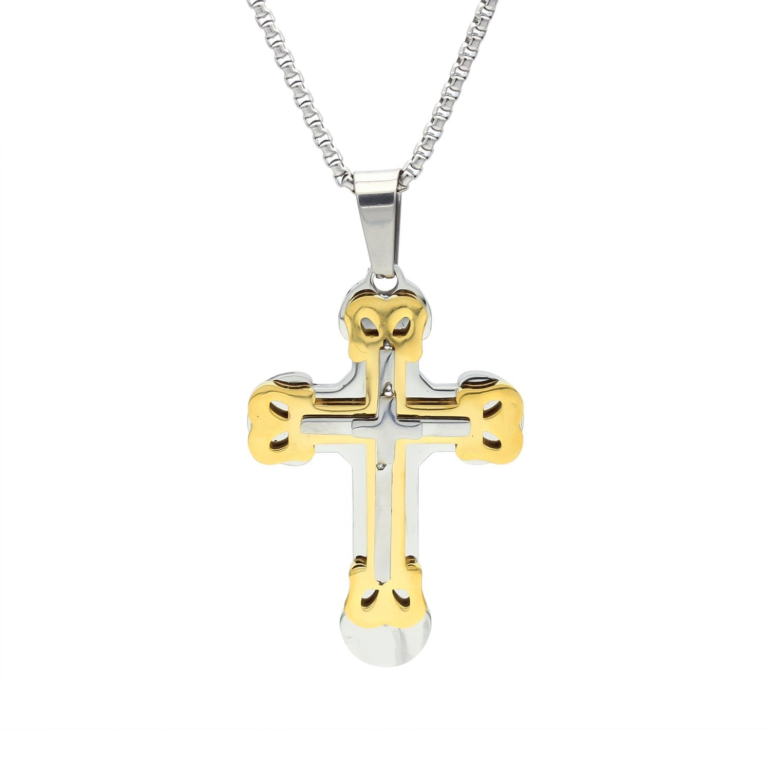 Stainless Steel Elaborate Design Cross Pendant