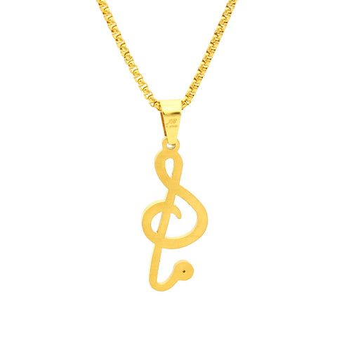 Stainless Steel Music Note Treble Clef Pendant