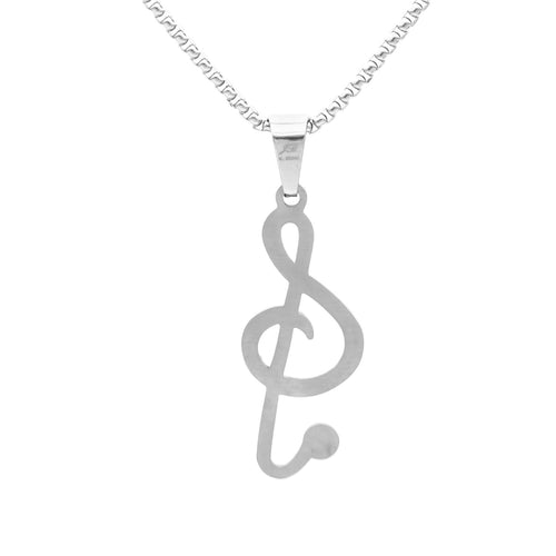 Stainless Steel Music Note CZ Treble Clef Pendant
