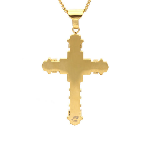 Stainless Steel Cubic Zirconia Gold Cross Pendant