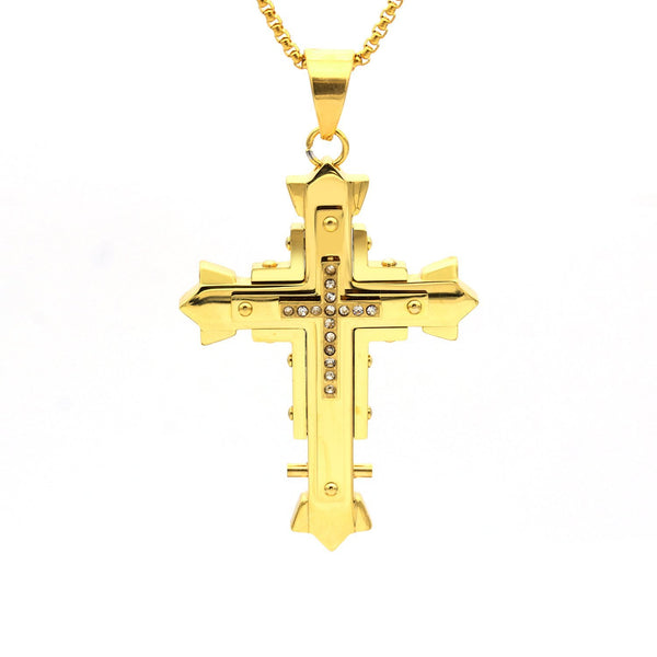 Stainless Steel CZ Gold Designer Cross Pendant
