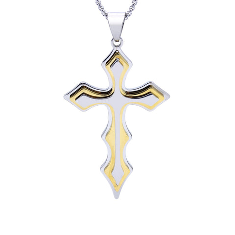 Stainless Steel Tri-Layer Cross Pendant