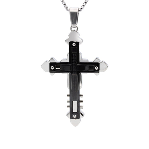 Stainless Steel Detailed Two-Tone Cross Pendant